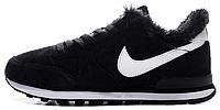 Зимние женские кроссовки Nike Internationalist Black (найк) с мехом черные