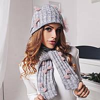 """Теплый женский вязаный комплект """"Бантик"""" шапка и шарф"""