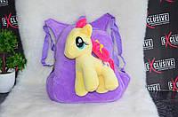 Детский сиреневый плюшевый рюкзак с пони.