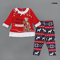 """Новогодний костюм """"Рождественские олени"""" для девочки. 74, 80 см"""
