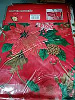 Скатерть новогодняя атласная 150*200 см Пуансетия, новогодние атласные скатерти оптом от производителя