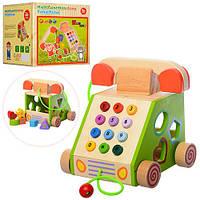 Дерев'яна іграшка Сортер MD 1109 телефон, каталка, фігурки 6 шт., кор., 20-18-19 см.