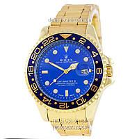 Мужские часы Rolex GMT-Master II Quarts Gold-Blue-Blue, кварцевые часы Ролекс Мастер