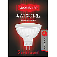 LED лампа MAXUS 4W 4100K MR16 GU5.3 220V (1-LED-404-01)