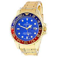 Мужские часы Rolex GMT-Master II Quarts Gold-Red-Blue, кварцевые часы Ролекс Мастер