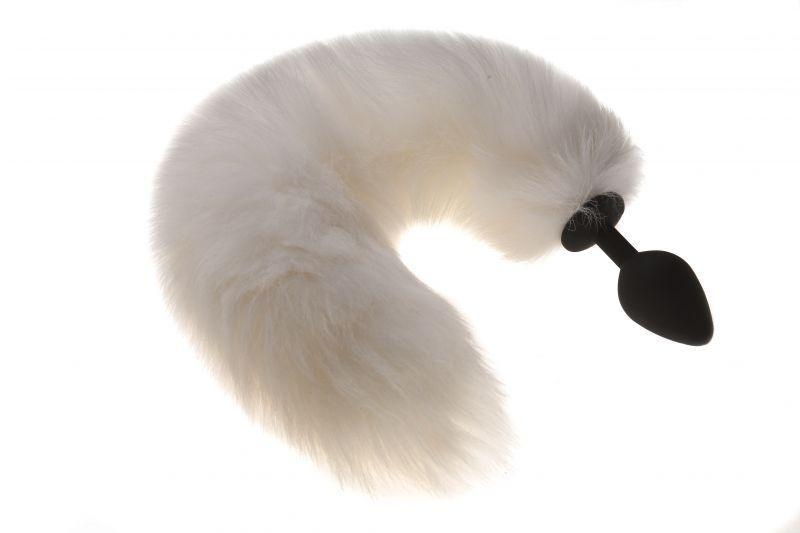 Силиконовая анальная пробка с хвостиком, белая кошечка, M