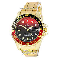Мужские часы Rolex GMT-Master II Quarts Gold-Black-Red, кварцевые часы Ролекс Мастер