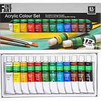 Акриловые краски 12 цветов, 12 мл, в тубах / Art Nation