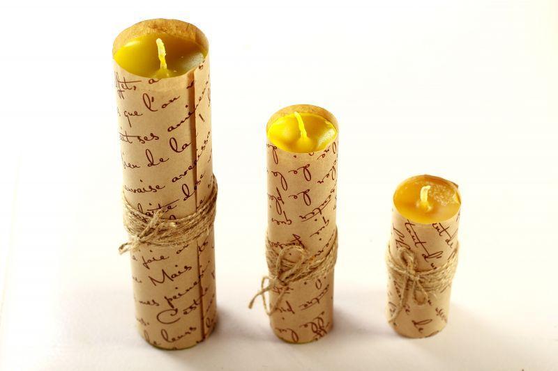 Набор свечей из 3 размеров цвет желтый