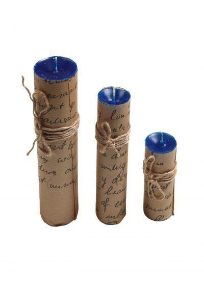 Набор свечей из 3 размеров цвет синий