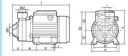 Вихревой бытовой поверхностный насос «Насосы +» QB60P размеры