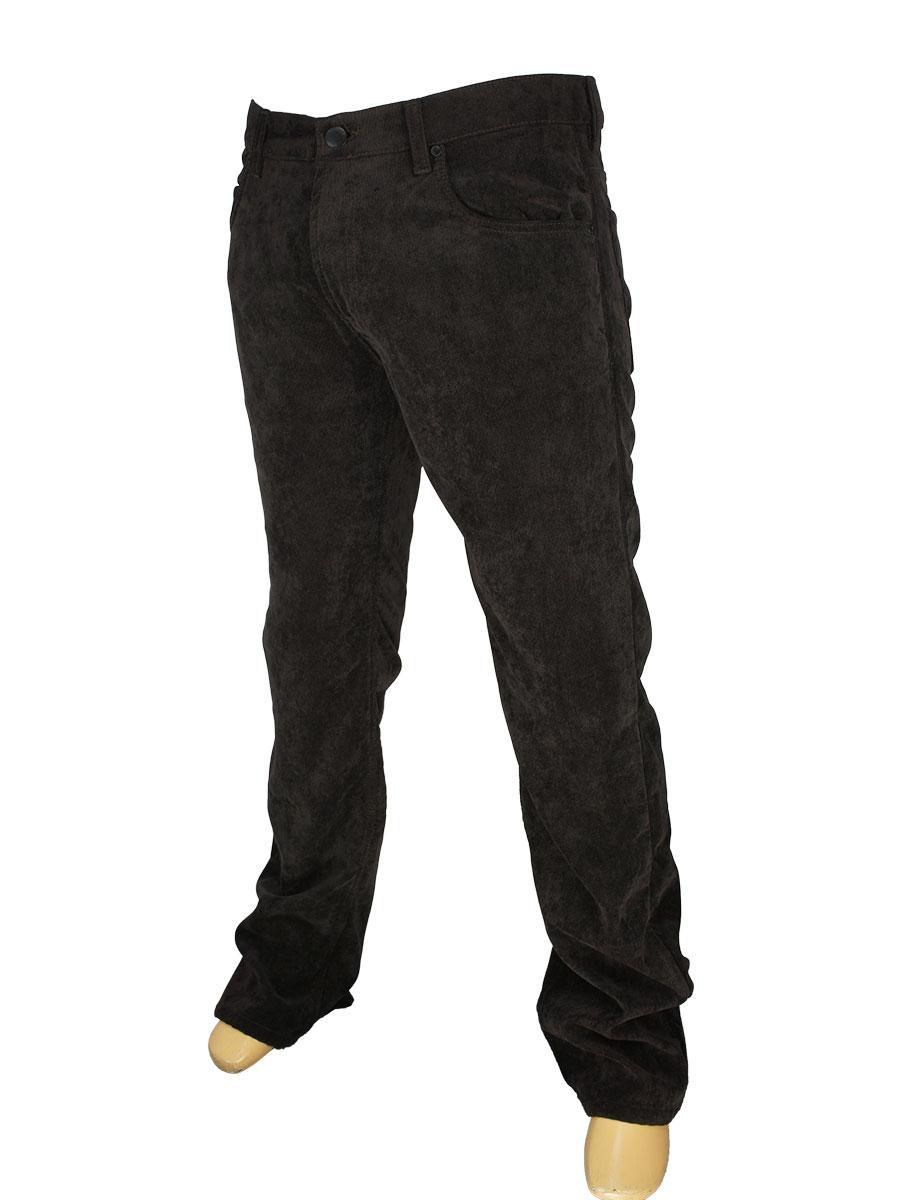 Мужские вельветовые джинсы Cen-cor MD-608-MK на флисе в коричневом цвете