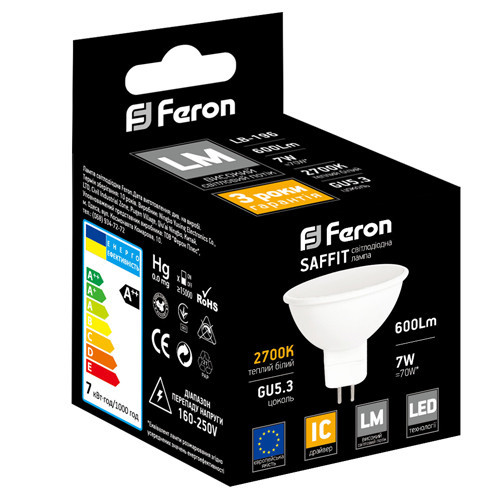 SAFFIT LED лампа LB-196 MR16 GU5.3 7W 230V 600Lm 2700K