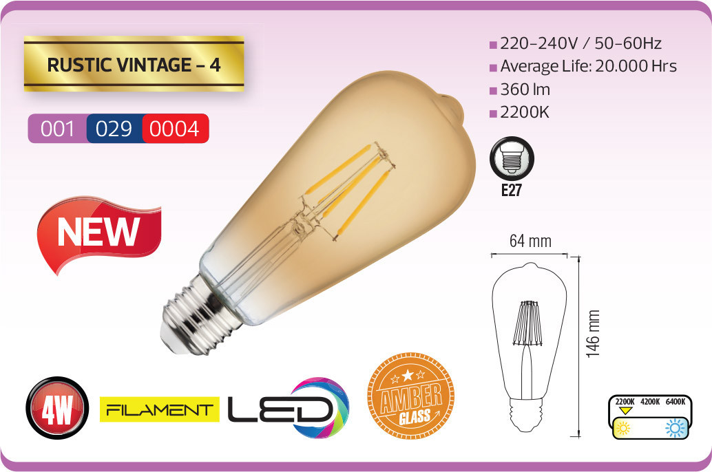 Лампа FILAMENT LED Вінтаж 4W RUSTIC VINTAGE-4
