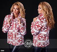 Стильная теплая курточка. Цвет - красный узор, белая основа