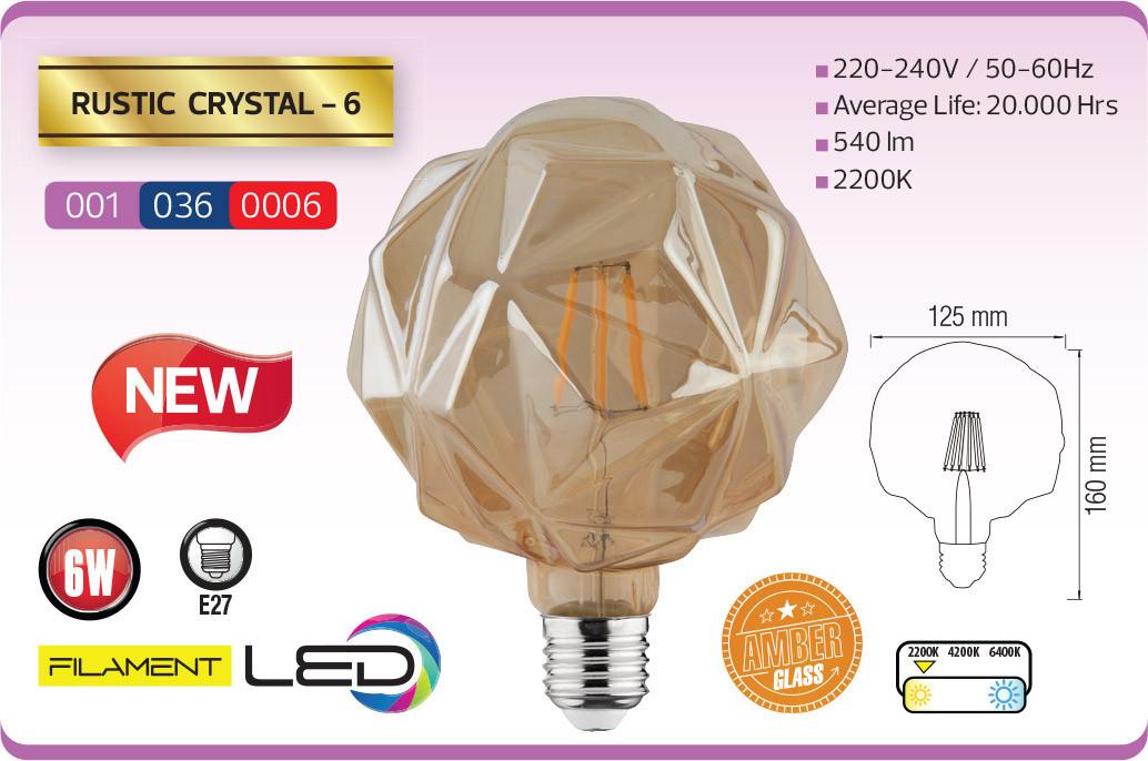 Лампа FILAMENT LED Кристал 6W RUSTIC CRYSTAL-6