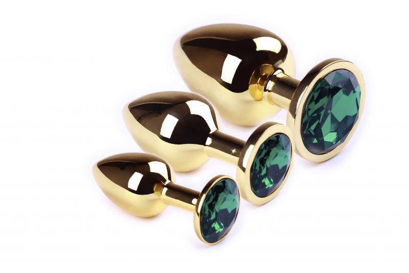 Набор анальных пробок,Gold Emerald, L, M, S