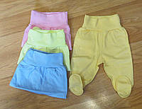 Тепленькие ползунки байковые для новорожденных (рост 56 см)