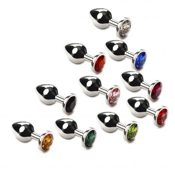 Набор анальных пробок 10 шт разных цветов, Silver, M
