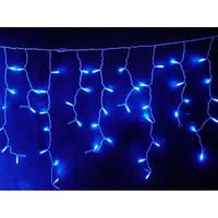 Гирлянда новогодняя LED Бахрома 3х0.5м белый каучук синее свечение