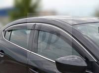 Дефлекторы окон (ветровики) с хром полосой (кантом-молдингом) Lexus GS (2WD) (лексус жс 2005г+)