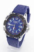 Мужские наручные часы Audi (серебристый корпус, синий ремешок) (Копия)