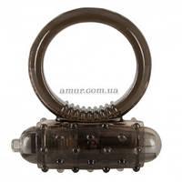 Эрекционное кольцо с вибро Dark Silikon черного цвета
