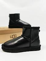 Женские UGG Australia mini, черные, материал - натуральная кожа, утеплитель - натуральный мех