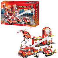 Конструктор SLUBAN M38-B0227 (6шт) пожарная часть,машинки,вертолет,фигурки,745дет,в кор-ке,57-38-9см