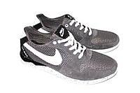 Летние кроссовки замшевые+сетка серого цвета, 40 размер