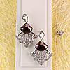012-0046 - Серьги с кристаллом Swarovski Chessboard Delta Crystal Vintage Rose и прозрачными фианитами родий