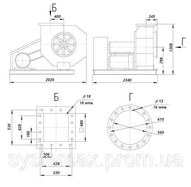 ВЦП 6-45 №8 (ВРП 120-45 №8) габаритные и присоединительные характеристики чертеж