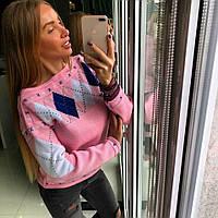 """Розовый теплый свитер ТМ Doratti """"Ромбы"""""""