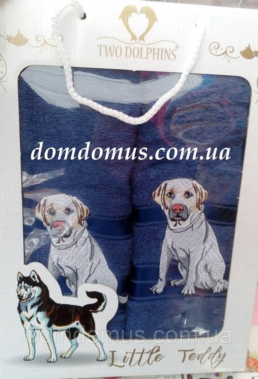 """Подарочный набор полотенец ( баня+лицо) """"Собака"""" Новый Год TWO DOLPHINS, 0145"""
