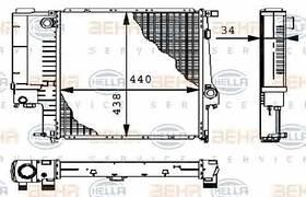 Радиатор охлаждения BMW 3 E36 1991-1998 (1.6-2.5 АКП АС-) 440*440мм по сотах KEMP