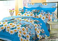 """Двуспальный комплект постельного белья 180*220 из полиэстера """"Ромашки и бабочки"""""""
