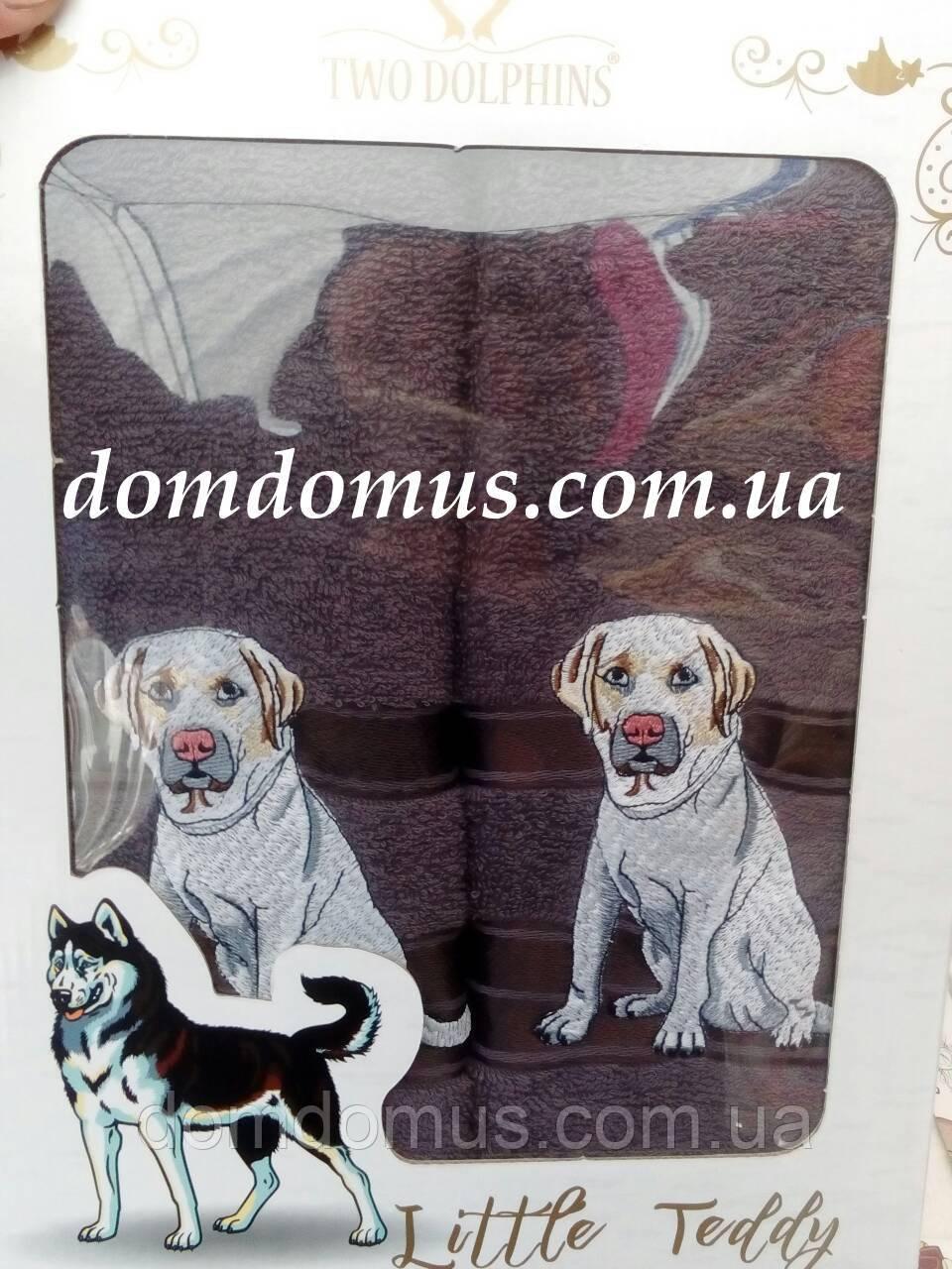 """Подарунковий набір рушників ( баня+особа) """"Собака"""" Новий Рік TWO DOLPHINS, 0147"""