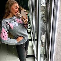 "Серый теплый свитер ТМ Doratti ""Ромбы"""