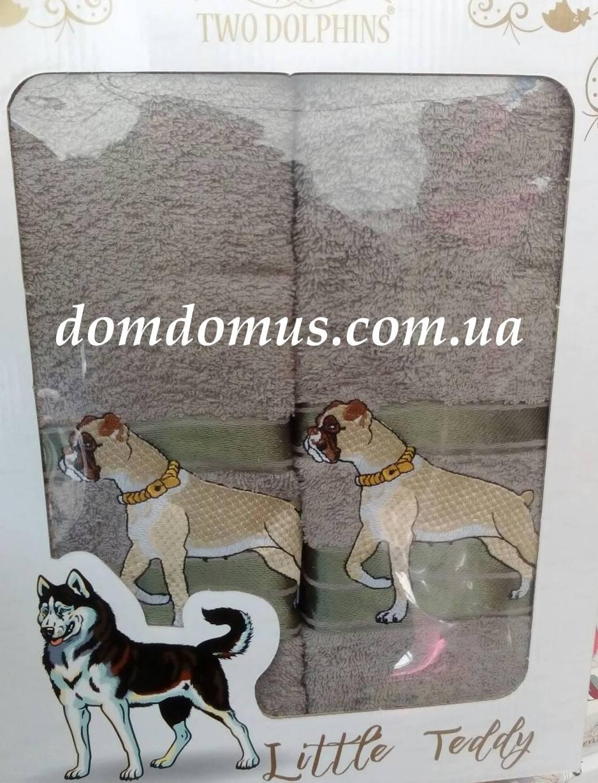 """Подарочный набор полотенец ( баня+лицо) """"Собака"""" Новый Год TWO DOLPHINS, 0148"""