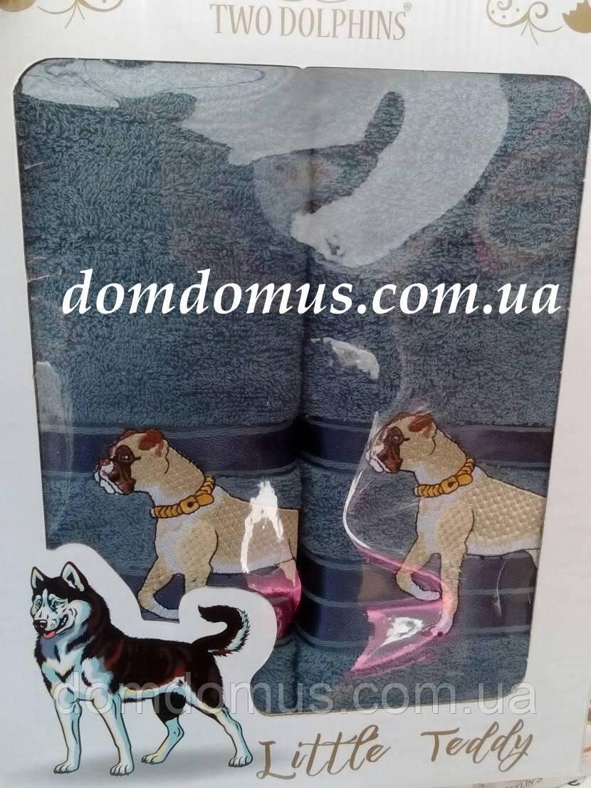 """Подарунковий набір рушників ( баня+особа) """"Собака"""" Новий Рік TWO DOLPHINS, 0149"""