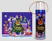 """Новогодняя упаковка тубус для конфет """"Гороскоп-подкова"""" на 700 гр."""