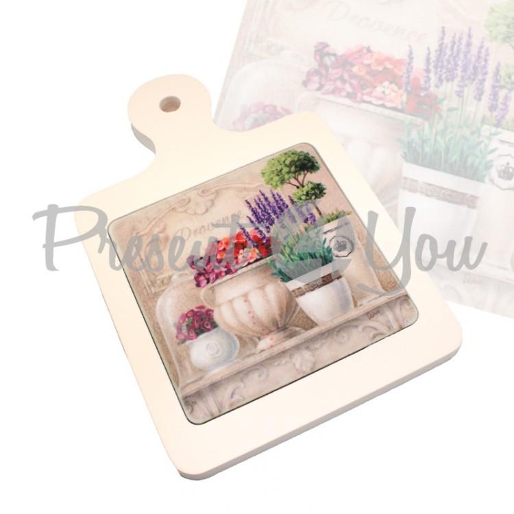 Доска для нарезки «Прованс.Цветы», 22х14,5, 11,5х11,5 см (263-9001)