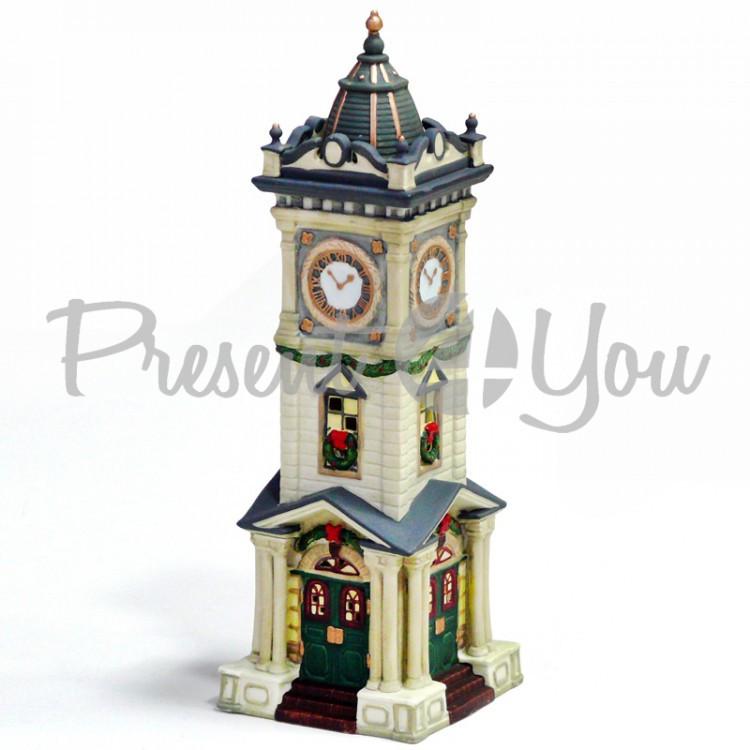 Новогодний декор домик «Часовня», фарфор, с диодной подсветкой, h-25,5x9x9 см (350-3054)