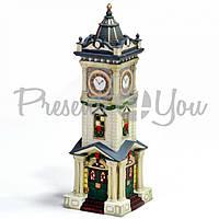 Новогодний декор домик «Часовня», фарфор, с диодной подсветкой, h-25,5x9x9 см.