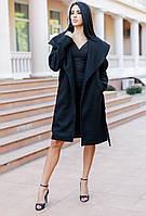 Женское кашемировое пальто с широким воротником (черное) Love KAN № 0520