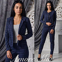 Костюм стильный женский пиджак и брюки теплая костюмка разные цвета DL644