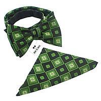 Галстук-бабочка Bow Tie House зеленая в квадратик +платок 01640