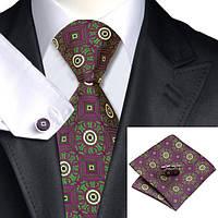 Подарочный JASON&VOGUE галстук баклажанный с зеленым 01680