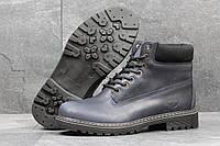 Мужские ботинки Timberland Зима. Кожа Мех 100% Темно синие