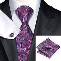 Галстук JASON&VOGUE фиолетовый в оранжевую и зеленую полоску 01903